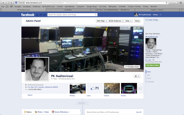 Facebook Timeline screen using 1280 x 800 video resolution