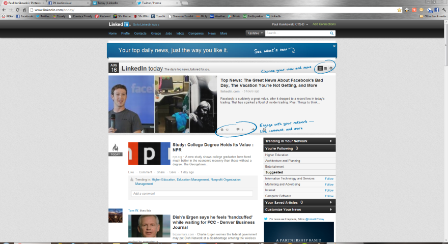 LinkedIn Home page as displayed in 1080p resolution