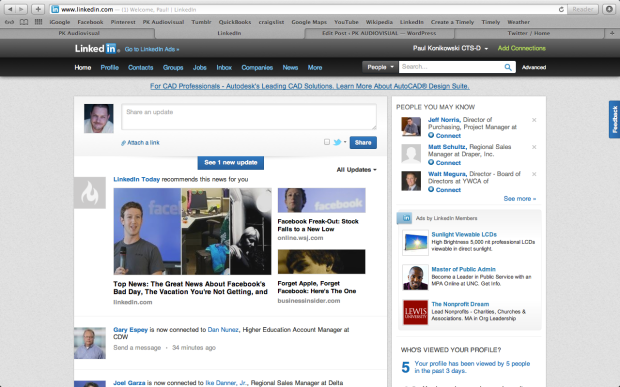 LinkedIn Home screen using 1280 x 800 video resolution