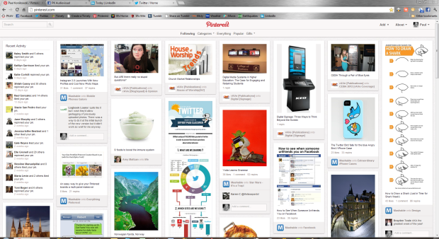 Pinterest Screen shown on a PC with 1080p resolution