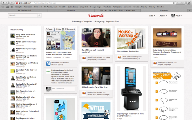Pinterest screen using 1280x 800 video resolution