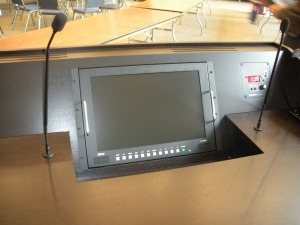 Lectern With Podium Microphones And Confidence Monitor