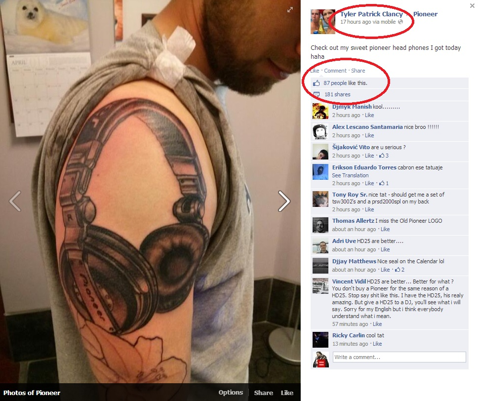 Pioneer Headphone Tattoo