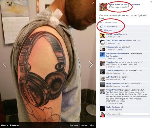 Pioneer Headphone Tattoo
