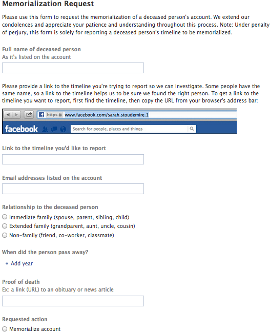 Facebook's Memorialization Request Form